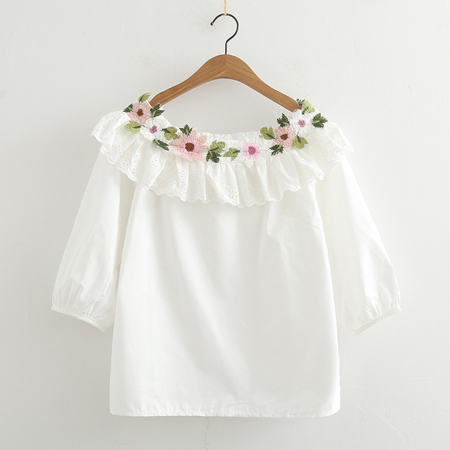 Slash Neck Spring Fresh Flowers Embroidery White Cotton Half Sleeve Shirt  Top Mori Girl Home Design Ideas