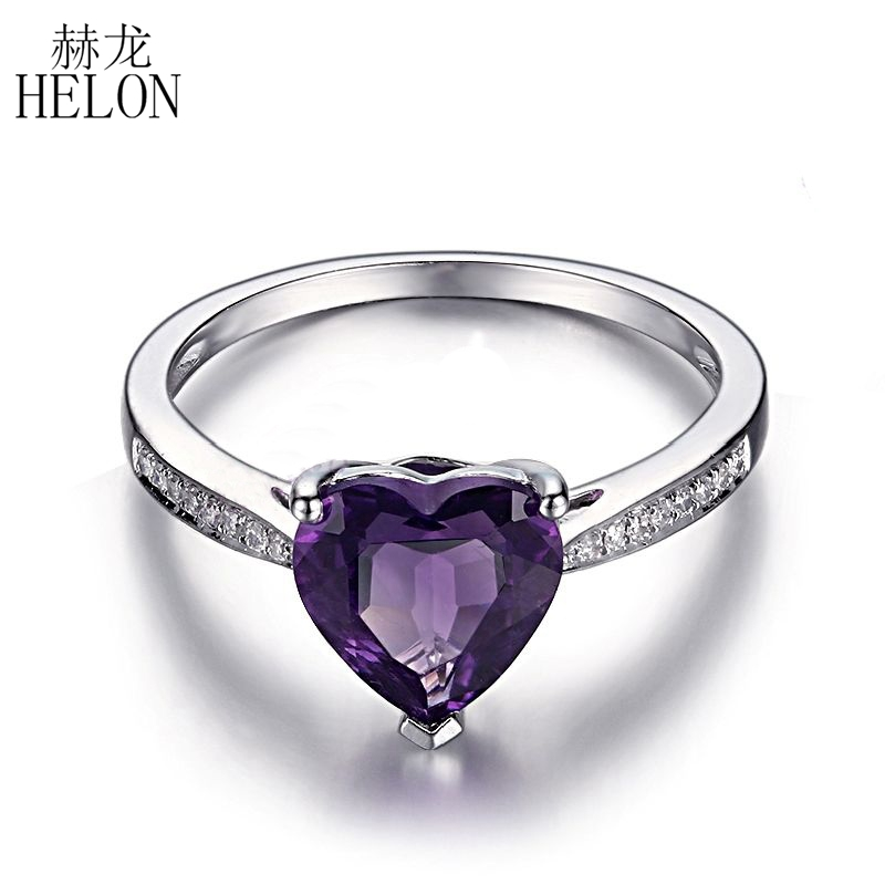 HELON 1.6ct Heart Shape 8x8mm Amethyst Solid 14K White Gold Pave Natural Diamonds Engagement Wedding Womens Fine Jewelry RingHELON 1.6ct Heart Shape 8x8mm Amethyst Solid 14K White Gold Pave Natural Diamonds Engagement Wedding Womens Fine Jewelry Ring
