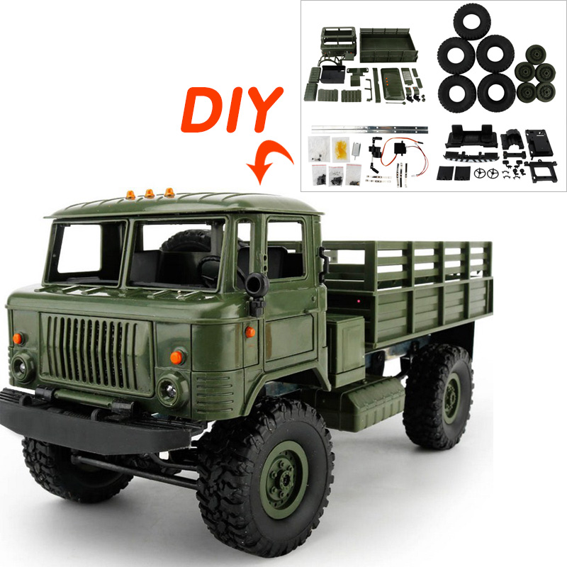 B-24/WPL RC Military Truck Four-wheel Drive Climbing Vehicle Toy Truck 4 Channel DIY Rac ...