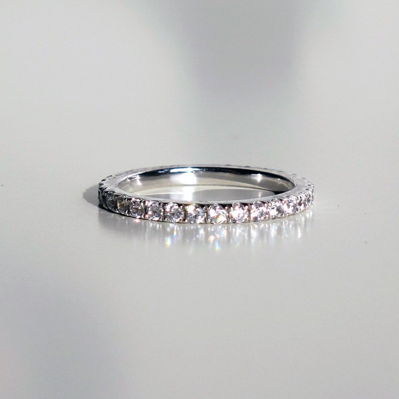 0.55Ct Brilliant Synthetic Diamonds Women Band Ring Solid 925 ...