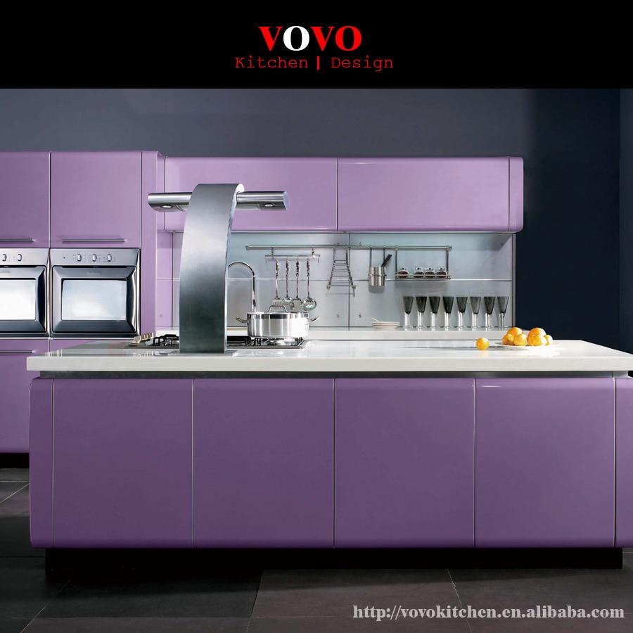 Newest Modern Flat Pack Kitchen Cupboard High Gloss Purple Door 21mm