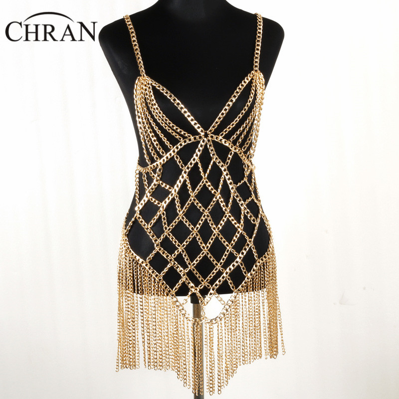 CHRAN Charm Women Gold Color Metal Mesh Tassels Body Chain Jewelry Wrap Necklace Harness Bra Chain Fashion Women Body Chain gypsy indian luxury gold metal bra mesh hollow flower piercing body chain waistcoat tassel coin harness body jewelry women man