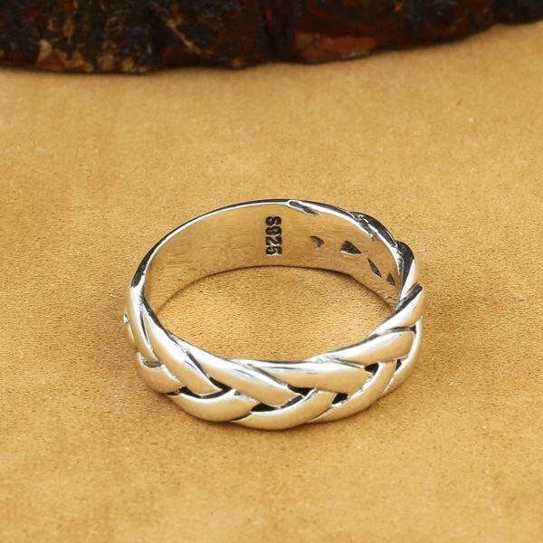 Simple Brief Design 100% Real Solid 925 Sterling Silver Ring Men Woven Band Fashion Silver 925 Jewelry Men Personality Bijoux цены