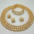 2016 Moda Nupcial Regalo de Boda Nigeriano Beads Africanos Joyería de Moda Dubai Oro Conjuntos de Joyas