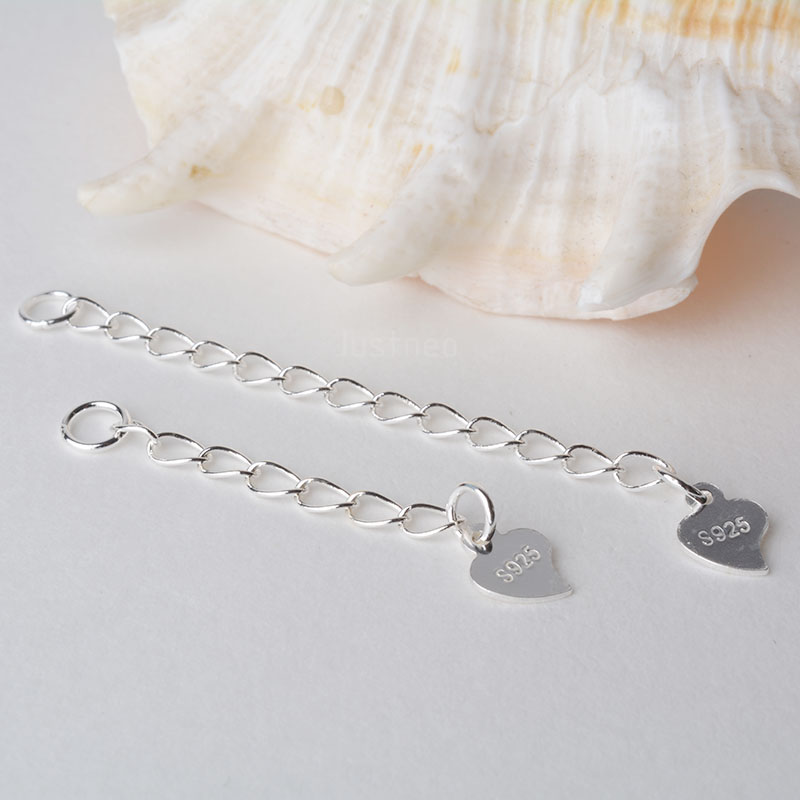 Solid 925 Sterling Silver Twisted Oval Cable Chain Extender With Heart Tag For Chain Necklace