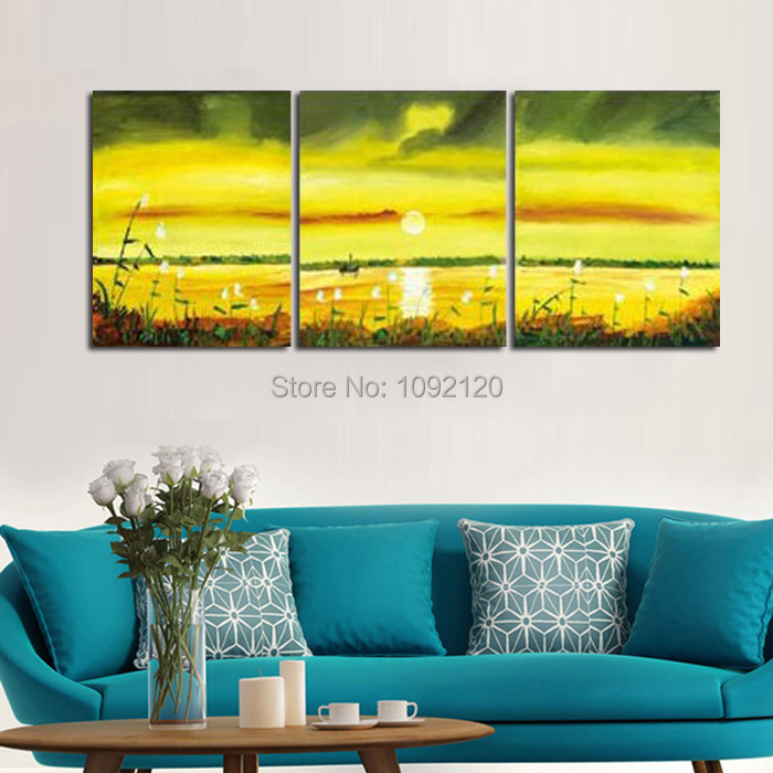 3 Piece Wall Art Canvas Hand painted Landscape Picutres Modern Abstract Oil Painting On Canvas Home Decor For Living Room|oil painting|modern abstract oil painting|paintings on canvas - title=