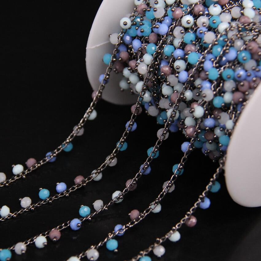 3x4mm Mixed Color Glass Bead Chain Plating Gun Black Color,Multicolor Crystal Quartz Faceted Rondelle Wire Wrapped Rosary Chain