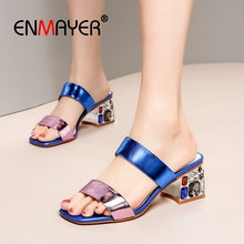 ENMAYER  Genuine Leather Basic Women High Heel Slippers Mixed Colors Summer Outside Fashion Shoes Size 34-43 LY2501