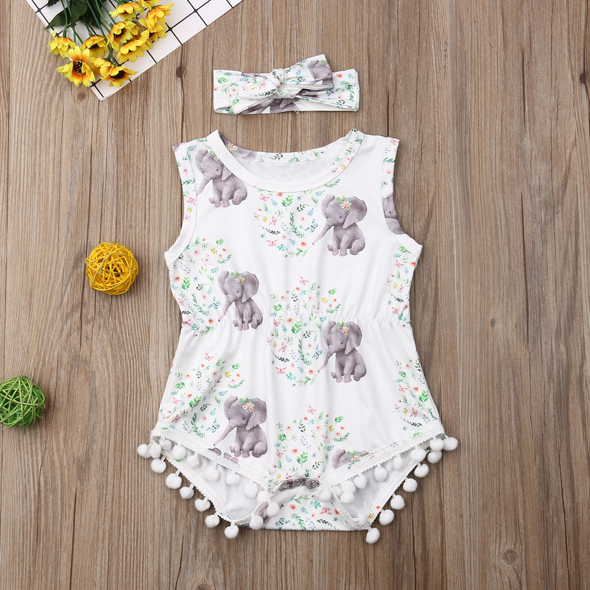 Newborn Infant Baby Girl Elephant Summer Romper Clothes Jumpsuit Headband Outfit