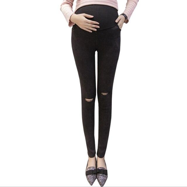 cb90078a68 Ropa de mujer embarazada jeans mujeres embarazadas rotas delgadas mujeres  embarazadas pantalones embarazada premama