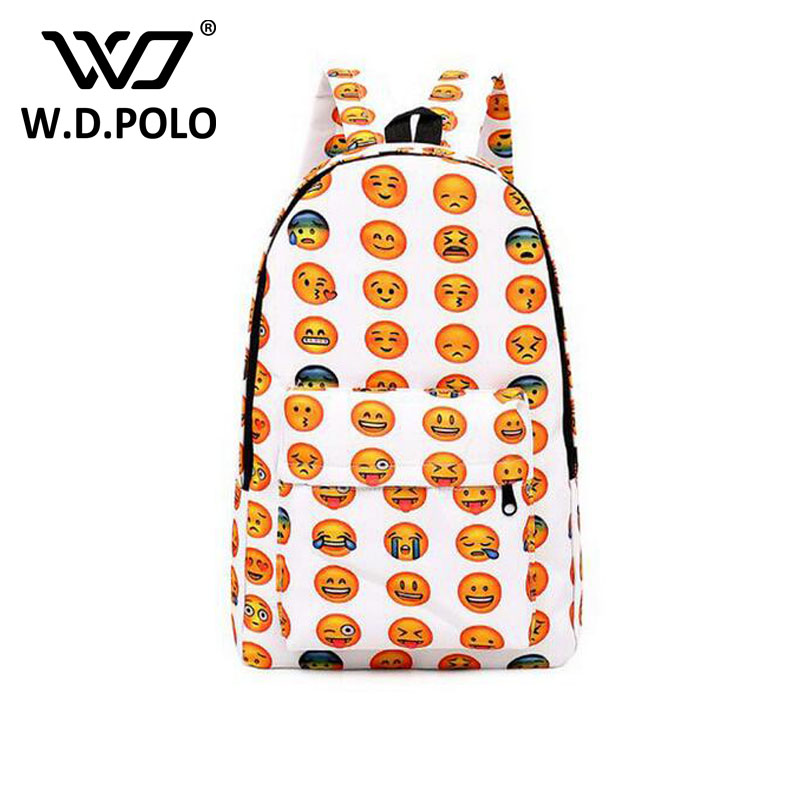 WDPOLO NEW canvas backpack women school backpack for teenager book bags unisex expresion printing travel bolsa backpack bag H000