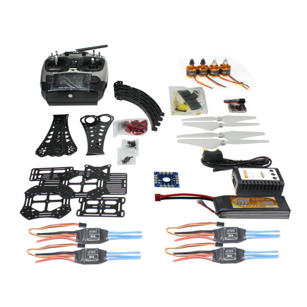 F14893-J DIY RC Drone Quadrocopter Full Kit X4M380L Frame Kit QQ Super AT9 TX RX diy rc drone quadrocopter rtf with x4m380l frame kit qq super fs i6 tx f14893 h