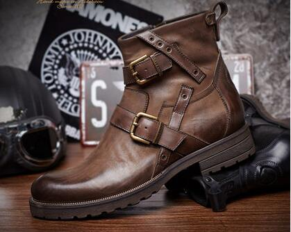 Hot 2017 Martin boots men high help shoes boots male desert boots tide restoring ancient ways tooling cowhide boots / 38-44