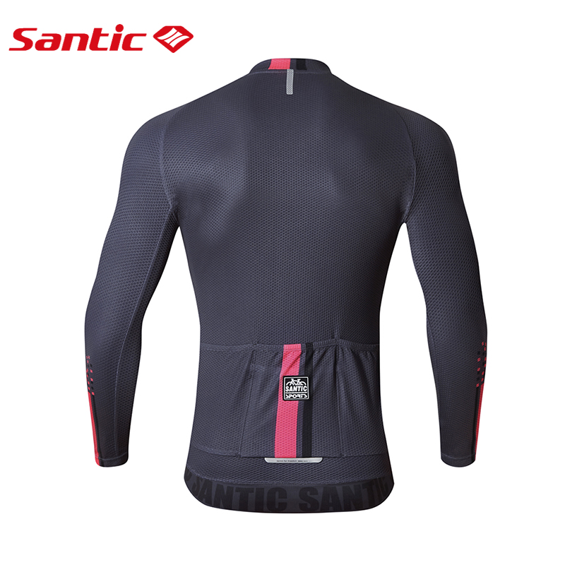 Santic Men Long Sleeve Cycling Jersey Pro Fit Mesh Breathable Quick Dry Road Bike MTB Jersey Back Waterproof Pocket Dh Jersey in Cycling Jerseys from Sports Entertainment