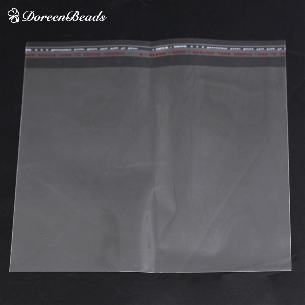 DoreenBeads 50PCs Self Adhesive Seal Plastic Bags 18x18cm(Usable Space 18x15cm) (B19862)
