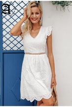 Ameision Sexy white women summer dress 2019 Backless v neck ruffle cotton lace Vintage holiday beach short female vestidos