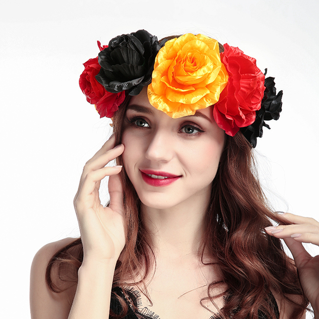 New Fashion Mixed Color Beautiful Women Adjustable Floral Headbands  Colorful Headwear 93e0422ea96