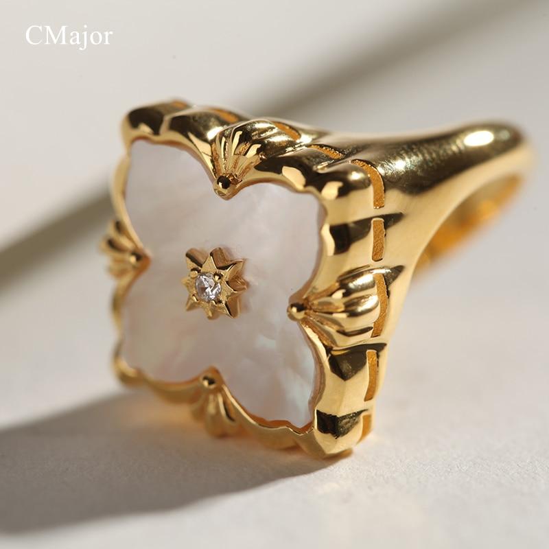 CMajor S925 Серебряные Ювелирные изделия Итальянский стиль белая оболочка четырехлистный клевер винтажные Модные кольца для женщин