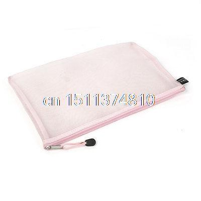 Zip Up Nylon Mesh A4 Paper Document File Pen Bag Holder Organizer Light Pink китайские шахматы friends of the ming 0811210