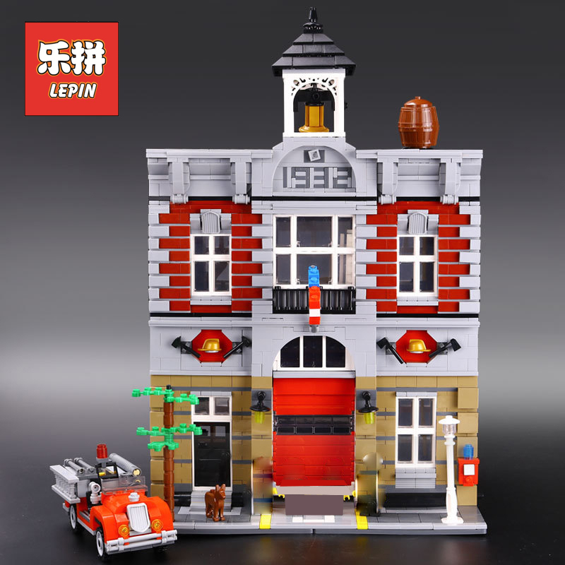 Lepin City Building 15004 Fire Brigade House Creative Toys Model Building Kits Blocks Bricks Compatible 10197 Children Gift big particles model building blocks forest paradise house sets children toys diy city bricks compatible with duplo birthday gift