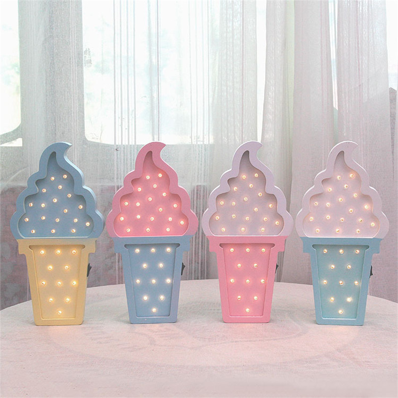 Creative LED Light Lovely Ice Cream Table Lamp Wall Hangings Decorations Ornament Home Decor Furnishings Wooden Craft