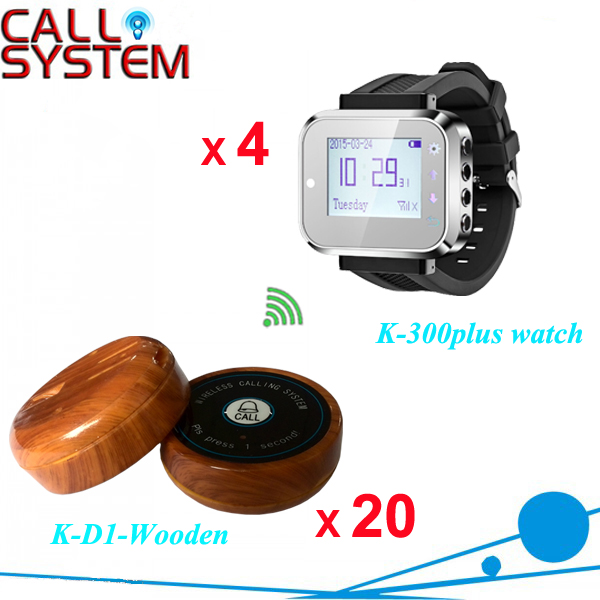 Service call bell pager system 4pcs of wrist watch receiver and 20pcs table buzzer button with single-key