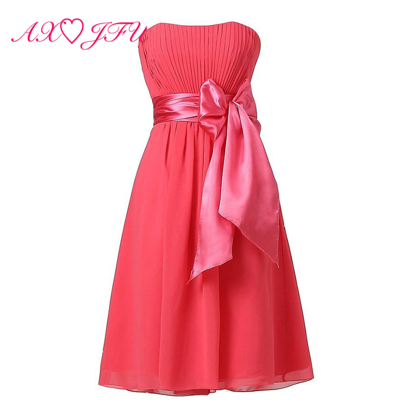 AXJFU princess big bow flower chiffon pink   Bridesmaid     Dress   a-line Special color strapless white black blue bow   Bridesmaid     Dress