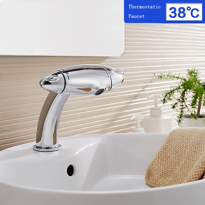 Newly Luxury Eruo Style Thermostatic Faucet Basin Faucet Chrome Polish Basin Tap Bathroom Vessel Sink Faucet Mixer Faucet