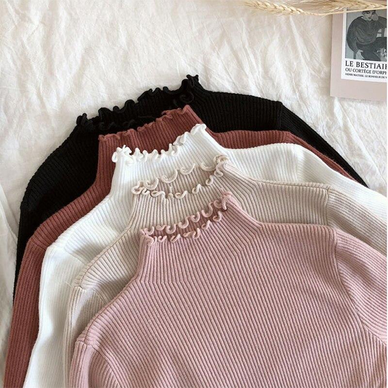 Shintimes Frauen Pullover Schlank Sexy Gestrickte Rollkragen Geraffte Hohe Elastische Solid 2019 Herbst Winter Mode Pullover Frauen Pullover