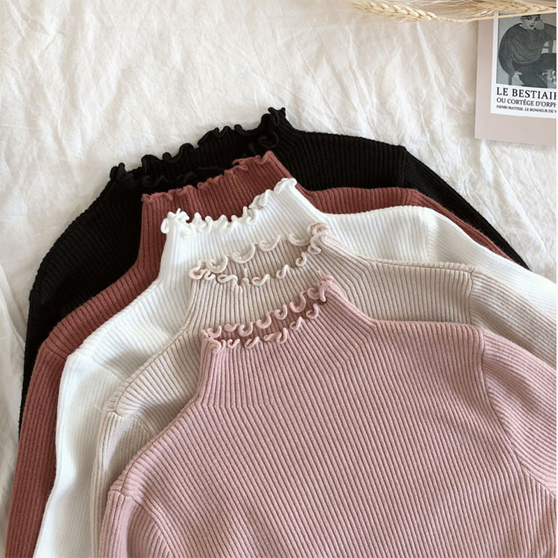 Shintimes Women Sweater Slim Sexy Knitted Turtleneck Ruched High Elastic Solid 2019 Fall Winter Fashion Sweater Women Pullovers