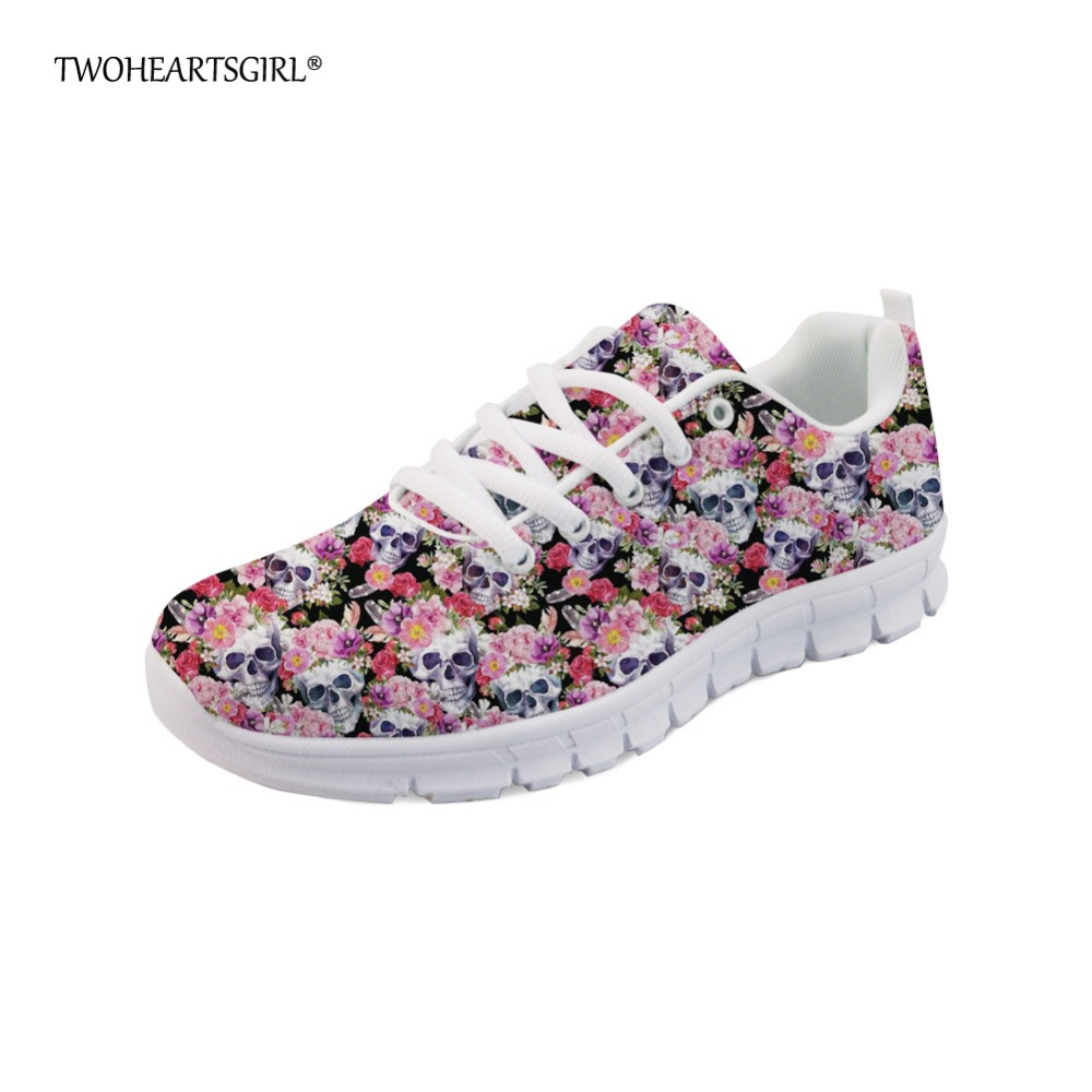Twoheartsgirl Colorful Women Teen Girls Skull Pattern Flats High Quality Casual Shoes Trendy Fashion Classic Women Sneakers Soft