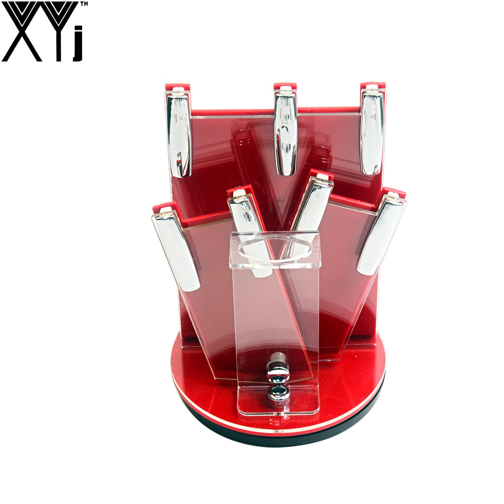 XYj 360 Degrees Rotated Knife Holder Put 4pcs Ceramic Knives + One Peeler Red Acrylic Knife Stand Best Brand New Kitchen Tool