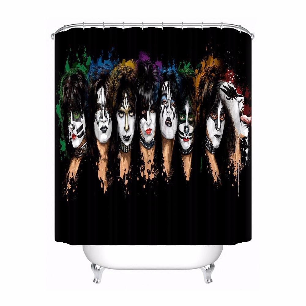Custom Kiss Band Shower Bath Curtain