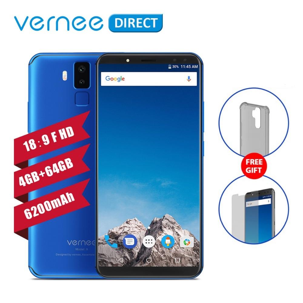 Vernee X ГБ 4 ГБ 64 Гб ОЗУ ПЗУ 6200 мАч 6,0 дюймов экран мобильный телефон В 9 В/2A Быстрая зарядка type C Face ID мобильный телефон