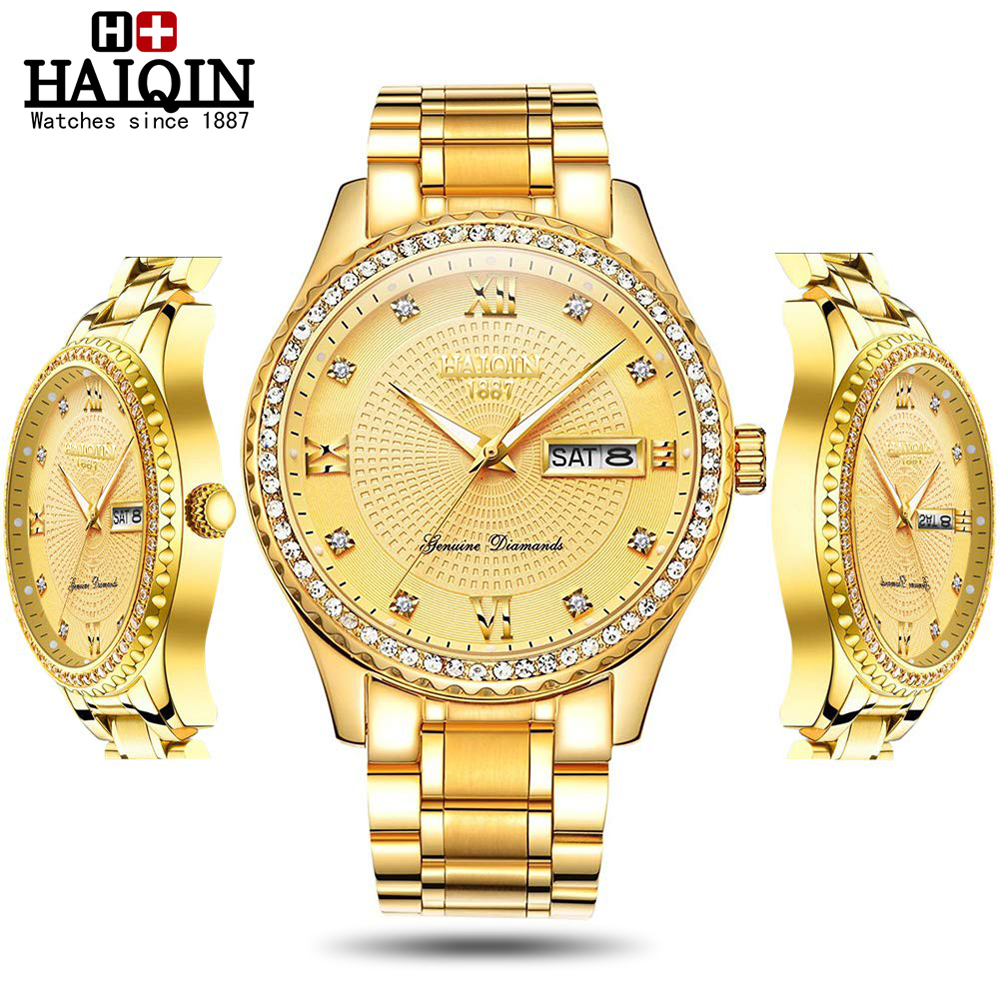 Haiqin mode diamant garniture Quartz hommes montres Top marque de luxe hommes montre dames montre-bracelet unisexe dame Relogio Feminino 2019