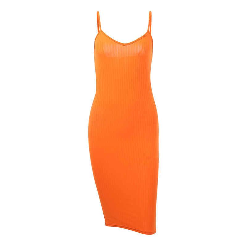Toplookオレンジドレス 2019 セクシーなハイウエスト女性summber vネックバックレス膝ドレススパゲッティボディコンエレガントファッションパーティー