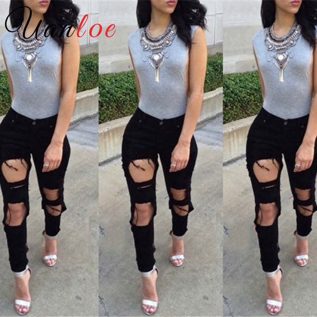 0ef47cacecc00 Online Shop 2018 Stylish Big Holes Ripped Jeans Tassels Skinny High Waisted  Pencil Pants Women Cut Out Trousers Black White Woman Feminino