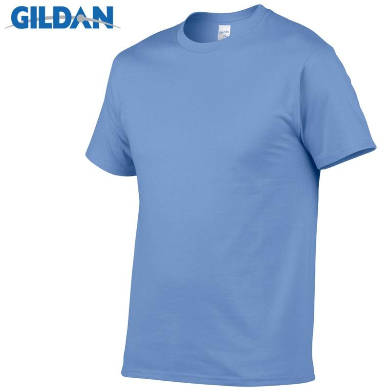 GILDAN Solid color T Shirt Mens Black And White 100% cotton T-shirts Summer Skateboard Tee Boy Skate Tshirt Tops European size 1