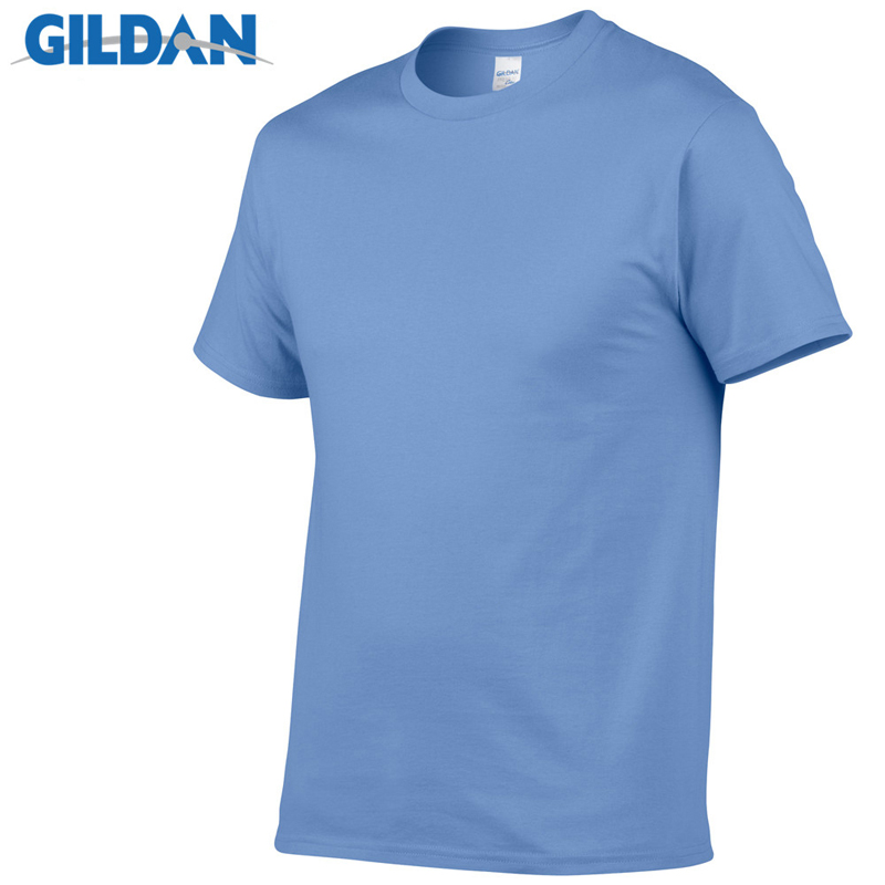 GILDAN Solid color   T     Shirt   Mens Black And White 100% cotton   T  -  shirts   Summer Skateboard Tee Boy Skate Tshirt Tops European size