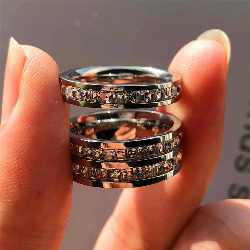 แฟชั่นผู้หญิงคริสตัล Zircon แหวนสแตนเลสแหวน Promise Luxury หมั้นแหวน