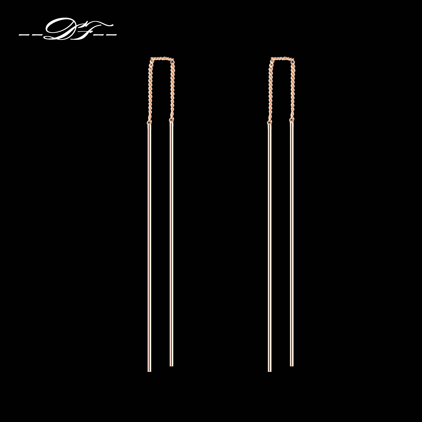 Simple Strip Bar Long Line Chain Drop/Dangle Earrings 18K Rose <font><b>Gold</b></font> Plated Fashion Jewelry <font><b>Strike</b></font> For Women Earring DFE789