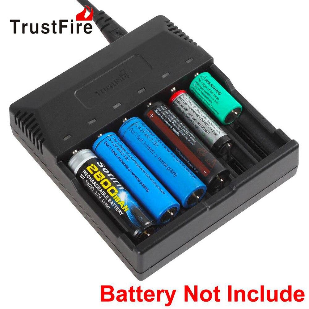 TrustFire 6 Slot Intelligente Caricabatterie Intelligente per AA AAA 18650 18500 18350 17670 16340 14650 14500 10440 Batteria Al Litio