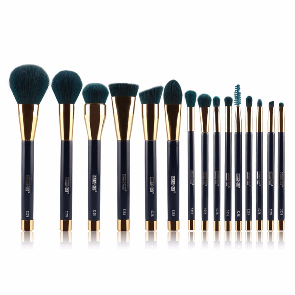 MAANGE Brand 15 Pcs Face Foundation Eye Shadow Lip Makeup Brushes Set Beauty Make Up Brush Tool Ship From US Free Shipping 1set new 4 in1 makeup beauty diy facial face mask bowl brush spoon stick tool set