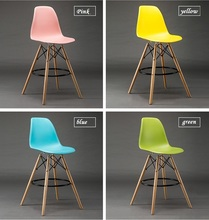 household coffee chair blue color PP stool free shipping sold wood leg living room computer stool