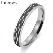 Innopes Korean fashion engagement rings couple ring stainless steel drop oil luxury black lovers jewelry woman