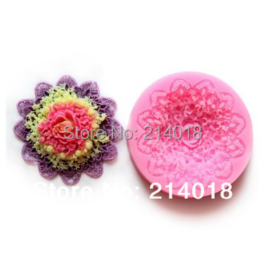 Free Shipping Complex Of Beautiful Flowers Chocolate Mold Fondant