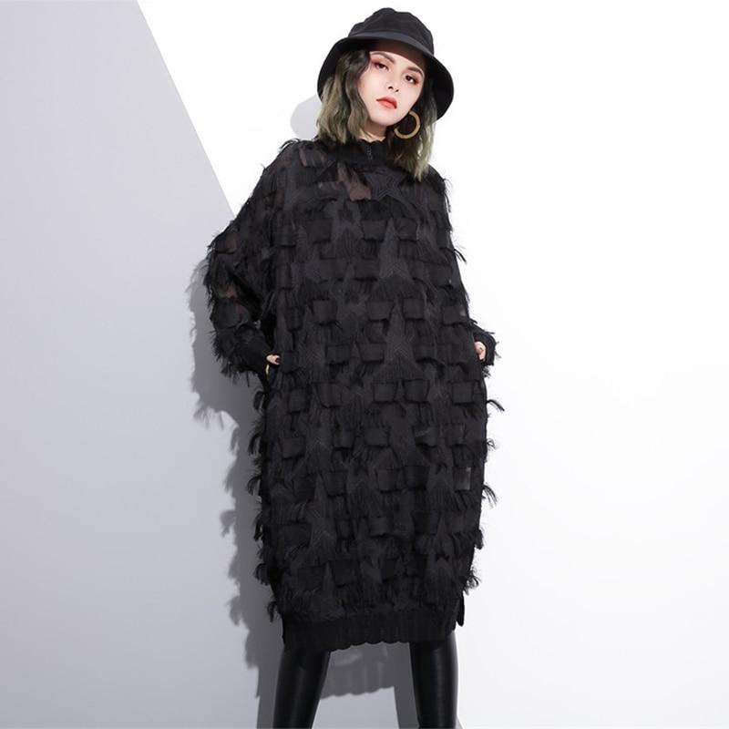 Stand Collar Long Sleeve Black Loose Dress 1