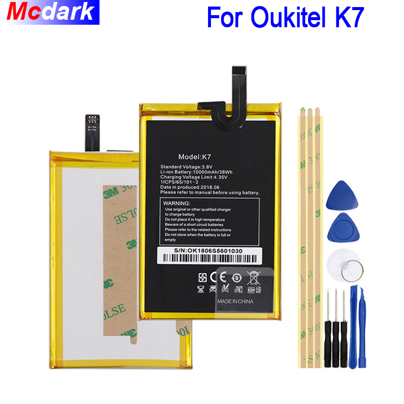 Mcdark 10000mAh Battery For Oukitel K7 Batterie Bateria Accumulator AKKU ACCU PIL Mobile Phone+ToolsMcdark 10000mAh Battery For Oukitel K7 Batterie Bateria Accumulator AKKU ACCU PIL Mobile Phone+Tools
