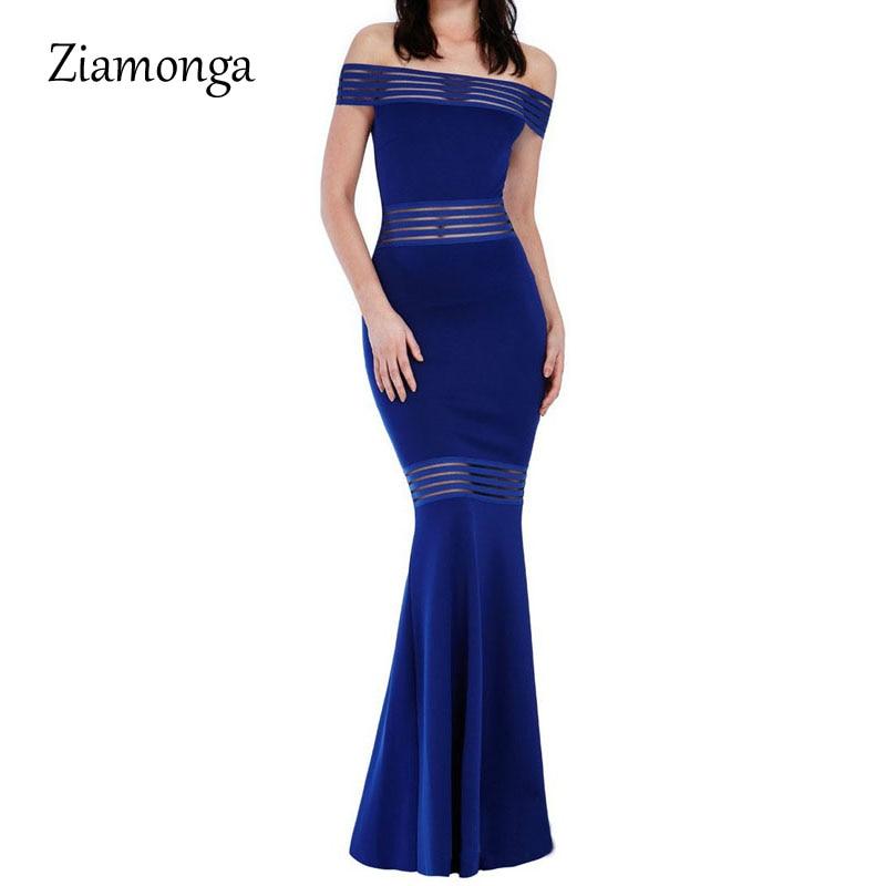 Ziamonga Women Sexy Dress Vestido Longo 2017 Fashion Slash Neck Off Shoulder Floor Length Long Party Dresses Robe Femme S2327