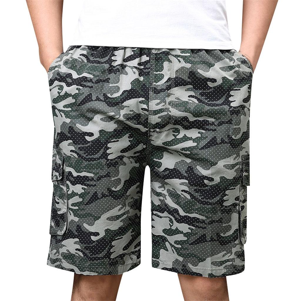 Cargo-Shorts Pantalones Beachwear Pocket Camouflage-Button Fitness Cortos Korte-Broek